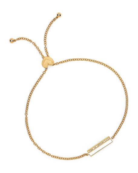 14k Diamond & Enamel Bar Bolo Bracelet, White