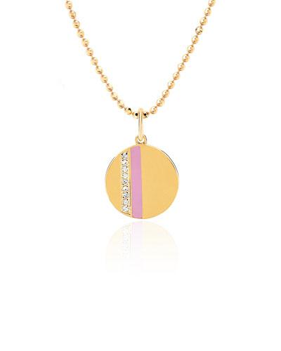 14k Diamond & Enamel Stripe Necklace  Pink