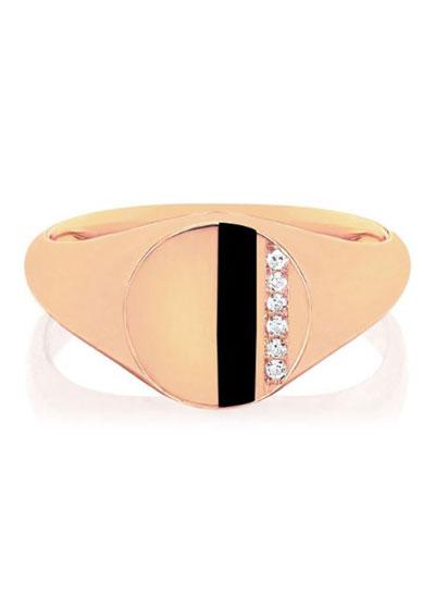 14k Rose Gold Diamond & Enamel Stripe Ring  Black