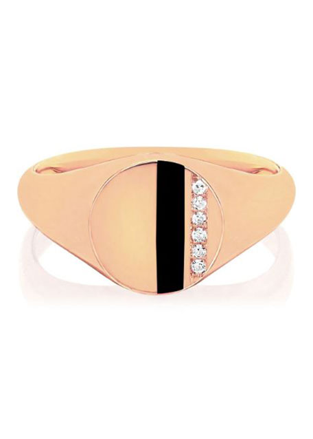 14k Rose Gold Diamond & Enamel Stripe Ring, Black