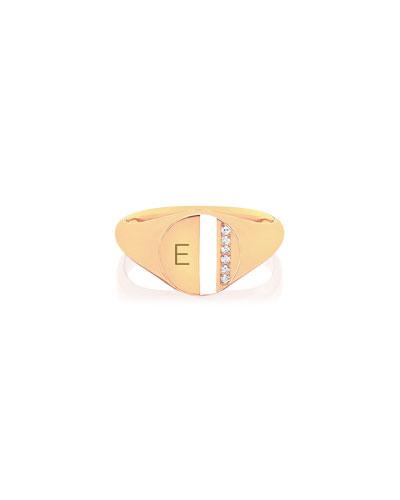 14k Diamond & Enamel Stripe Ring  White