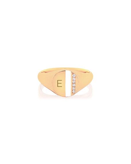 14k Diamond & Enamel Stripe Ring, White
