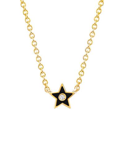 14k Diamond & Enamel Star Necklace  Black
