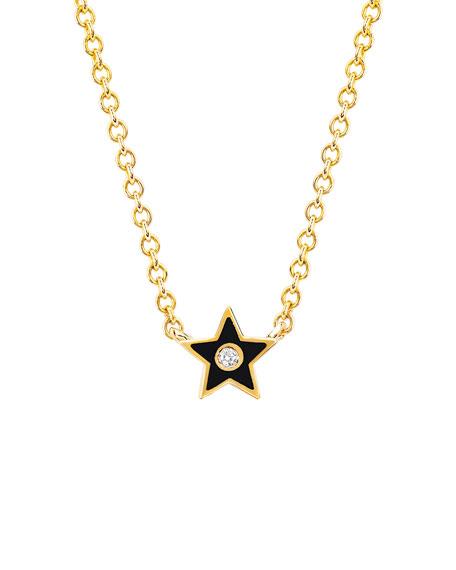 14k Diamond & Enamel Star Necklace, Black
