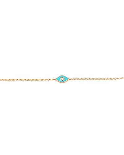 14k Rose Gold Diamond & Enamel Evil Eye Bracelet  Turquoise