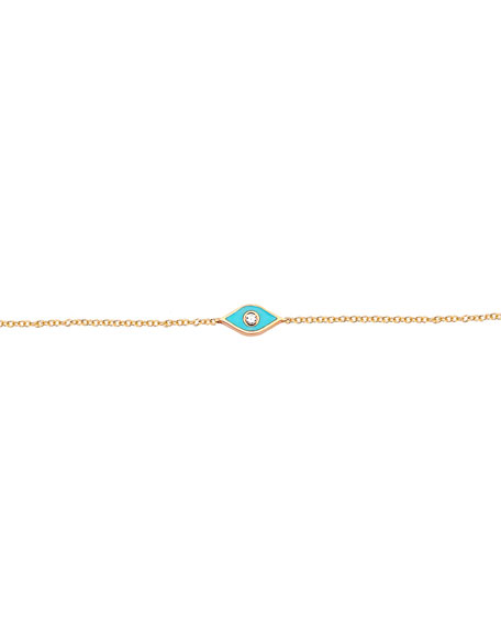 14k Rose Gold Diamond & Enamel Evil Eye Bracelet, Turquoise