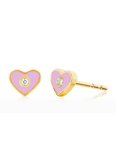 14k Diamond & Enamel Heart Stud Earring  Single  Pink