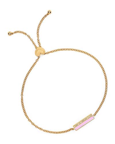 14k Diamond & Enamel Bar Bolo Bracelet  Pink