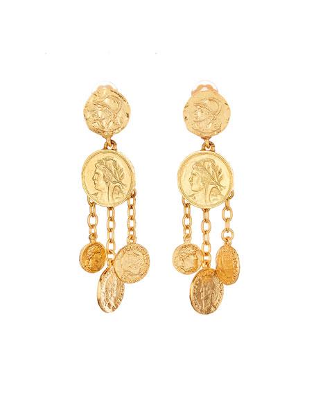 Coin Chandelier Clip Earrings
