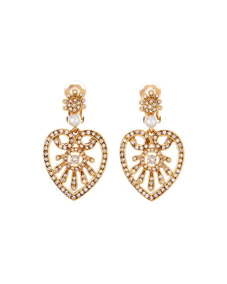 Pearly Crystal Heart-Drop Earrings