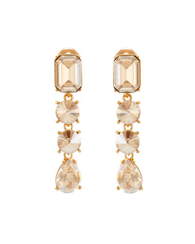 Classic Large Crystal Clip Earrings