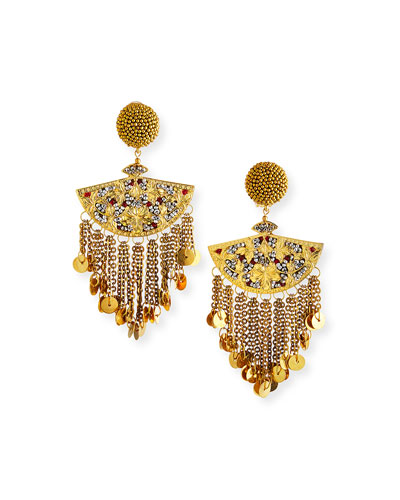 Embellished Beaded Chain Fan Clip Earrings