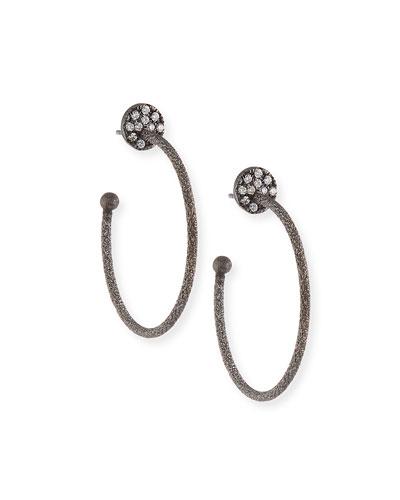 18k Black Gold Small Diamond Coin & Hoop Earrings