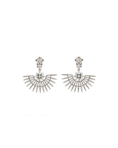 Pave Point Fan Earrings