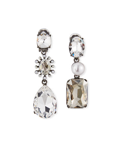 Bold Mismatch Jewel Earrings  Silver