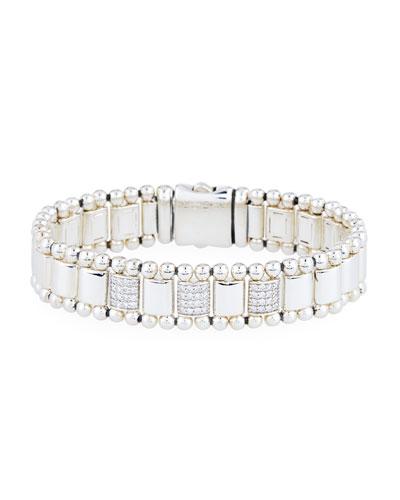 Beaded Silvertone Bracelet