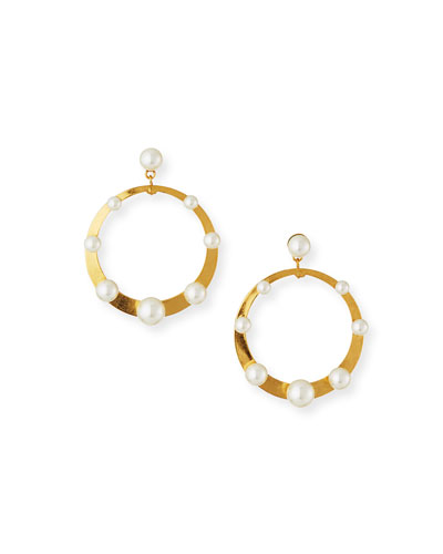 Pescale Pearly Hoop-Drop Earrings