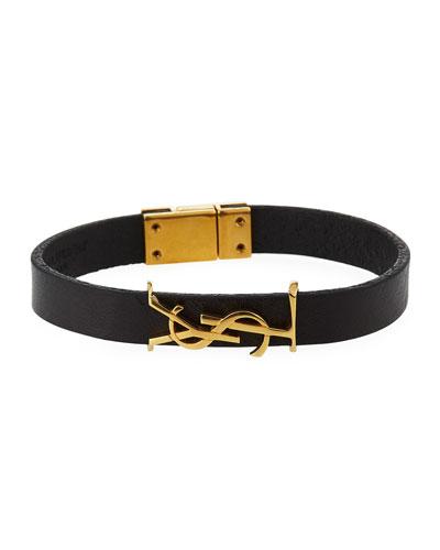 Leather YSL Monogram Bracelet  Black/Gold