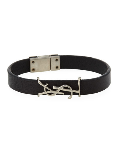 Leather YSL Monogram Bracelet  Black/Silver