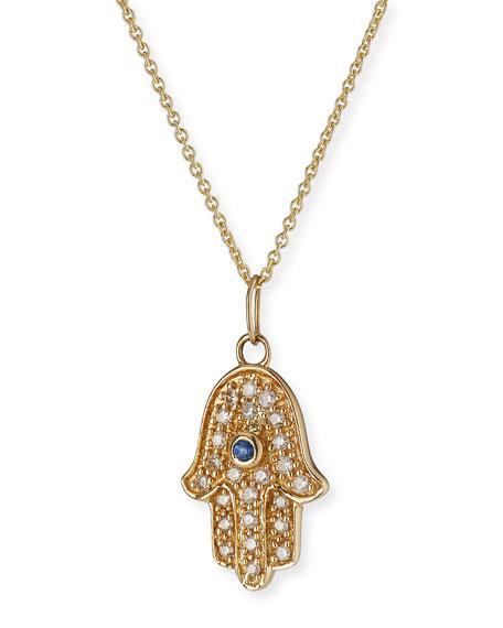 14k Diamond & Sapphire Hamsa Charm Necklace