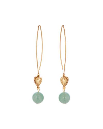 Heart & Bead-Drop Earrings