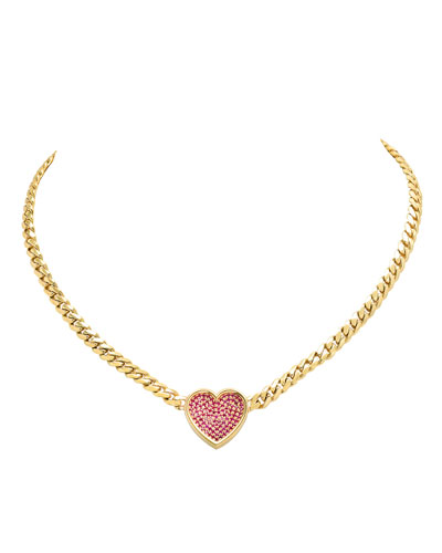 18k Ruby Heart Thick-Chain Necklace