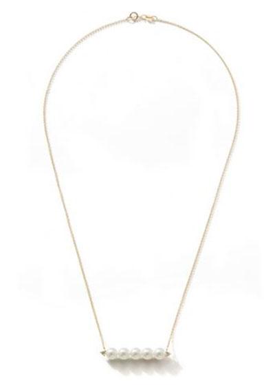 14k Gold 5-Pearl & Diamond Bar Necklace