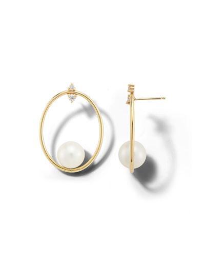 14k Diamond-Post Pearl-Hoop Earrings