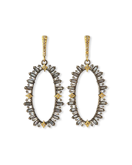 Old World Front-Facing Oval Hoop-Drop Earrings