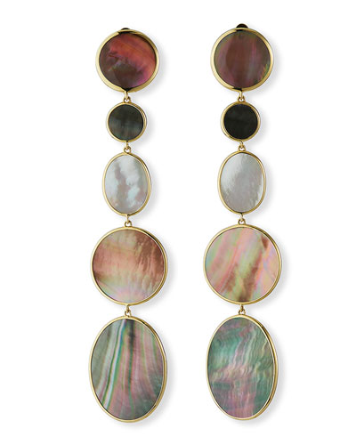 Polished Rock Candy 18k 5-Drop Clip Earrings  Mother-of-Pearl