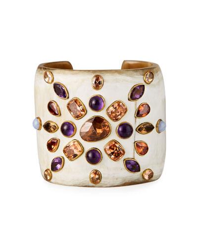 Wide Light Horn Cuff Bracelet w/ Amethyst & Stones