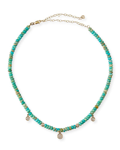14k Diamond Baby Charm Turquoise Necklace
