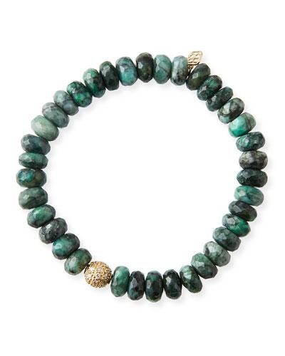 14k Diamond Ball & Emerald Bead Bracelet