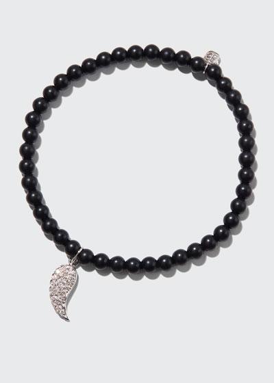 14k White Gold Diamond Wing & Black Onyx Bracelet