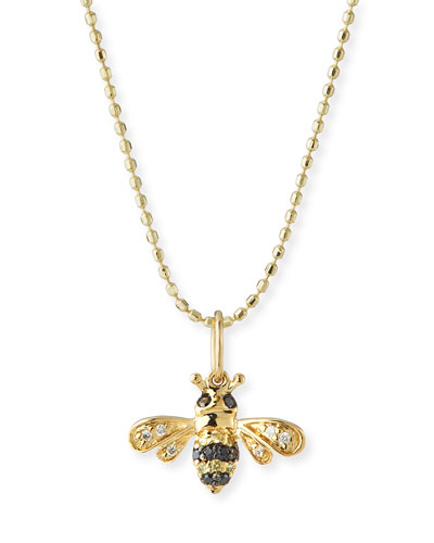 14k Gold Diamond & Sapphire Bee Charm Necklace