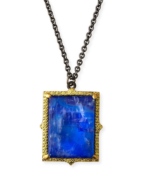 Old World Lapis/Moonstone Pendant Necklace