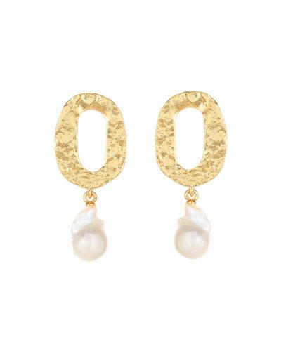 Hammered Pearl-Drop Clip Earrings