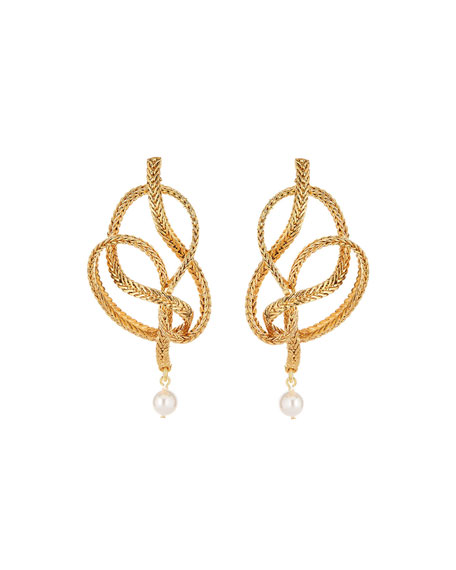 Braided Chain Pearly Earrings