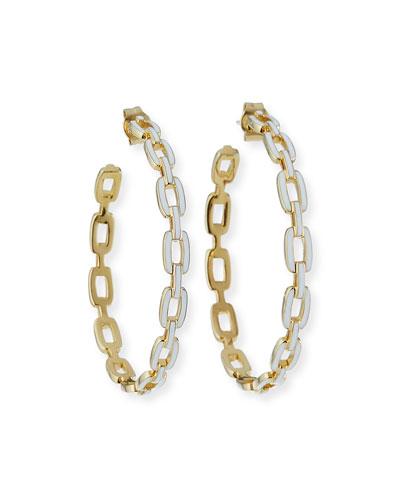 Carmine Enamel Medium Hoop Earrings