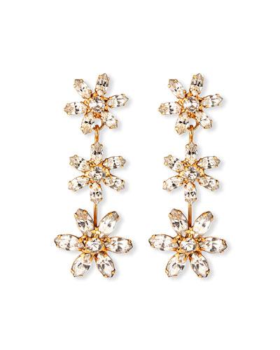 Holly Crystal 3-Flower Earrings