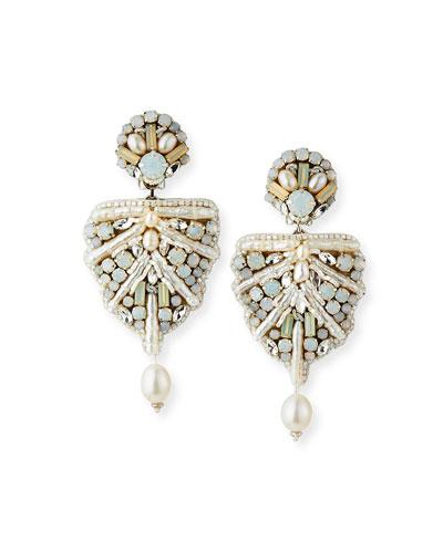 Naomi Mixed-Pearl Clip Earrings
