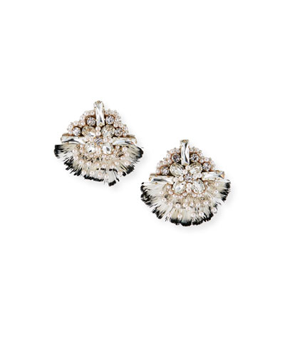 Dylan Feather-Trim Earrings