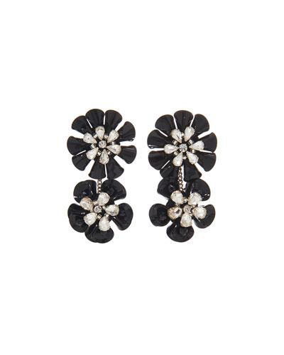 Karolina Crystal Earrings  Black