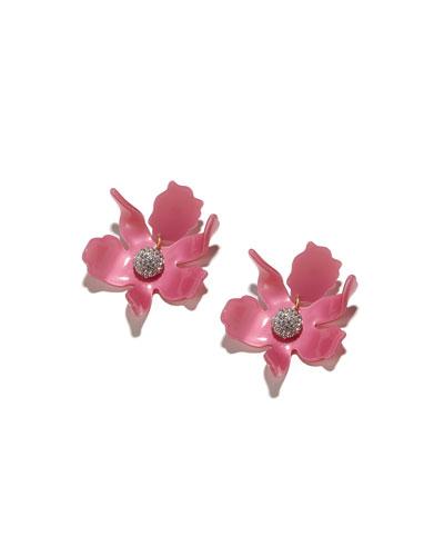 Crystal Lily Stud Earrings  Pink