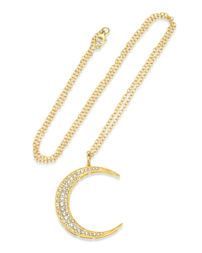 18k Gold Diamond Crescent Moon Necklace
