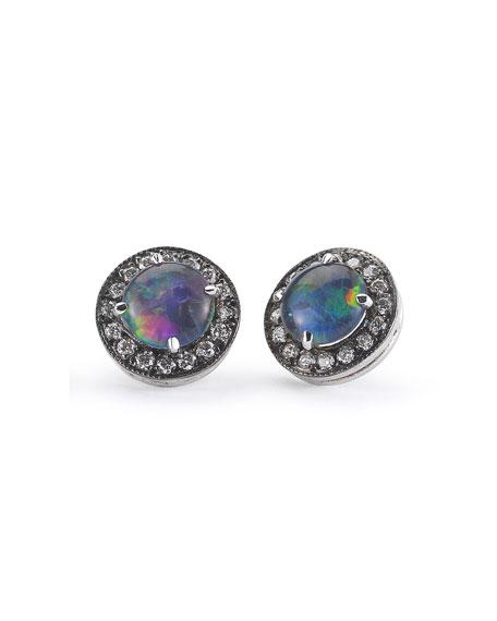 Australian Opal Diamond-Trim Earrings