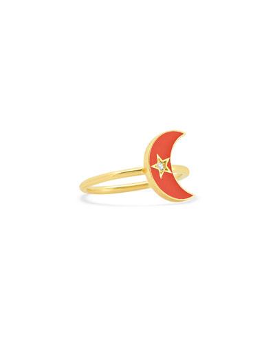 18k Pink Enamel Crescent Ring, Size 5-7