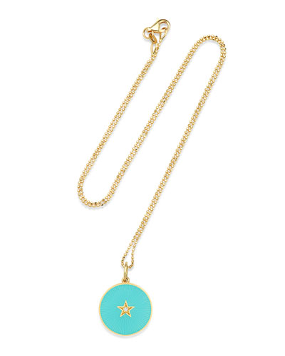 18k New Full Moon Necklace  Turquoise