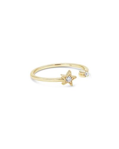 18k Split Diamond Star Ring, Size 5-7