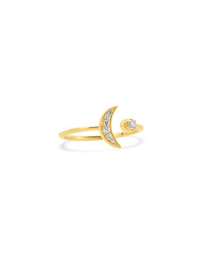 18k Diamond Crescent Moon Ring, Size 5-7